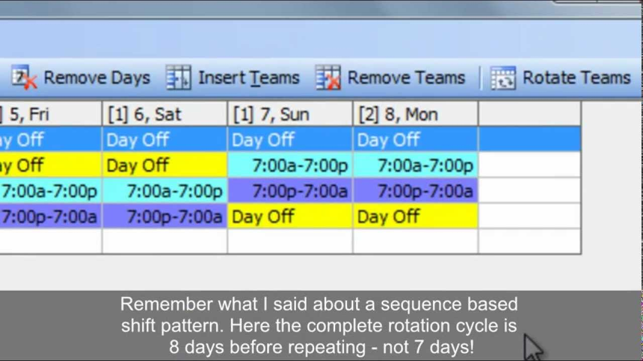 7 day roster template - work schedules improved 4 on 4 off 12 hour shift patterns