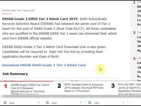 DSSSB Grade 2 DASS Tier 2 Admit Card 2019 Released @dsssb.delhi.gov.in, ...