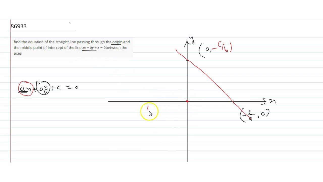 slope intercept form line passing through points calculator  find the equation of the straight line passing through the origin and the  middle point of inter...