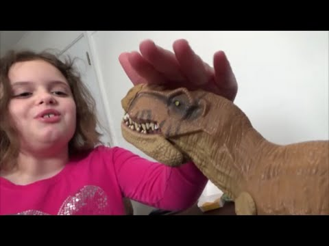 "Thumbnail: Pet Dinosaur Thinks He Is A Dog & Pees In House ""Toy Freaks"" Annabelle & Victoria"
