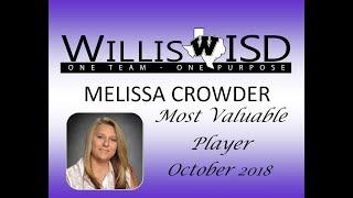Willis ISD October 2018 MVP