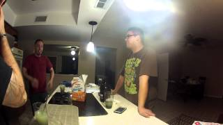 3 dudes hanging out drinking absinthe and eating goldfish