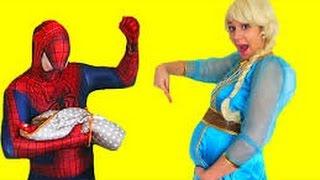 Черный Человек-паук против Женщина кошка вор полиции Эльза джокер Шалости Человек паук видео смешной