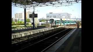 広島電鉄宇品線 広島港(宇品)駅に到着する電車(2本続行)