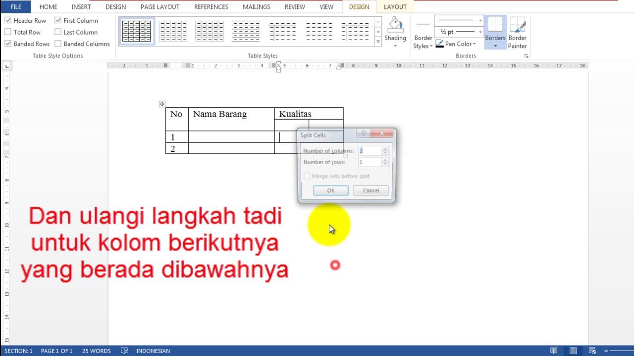 Cara Membuat Tabel 1 Baris 2 Kolom Dalam Microsoft Word Youtube