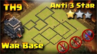 Best Anti 3 Star TH9 War Base 2017 (Anti All Combo)