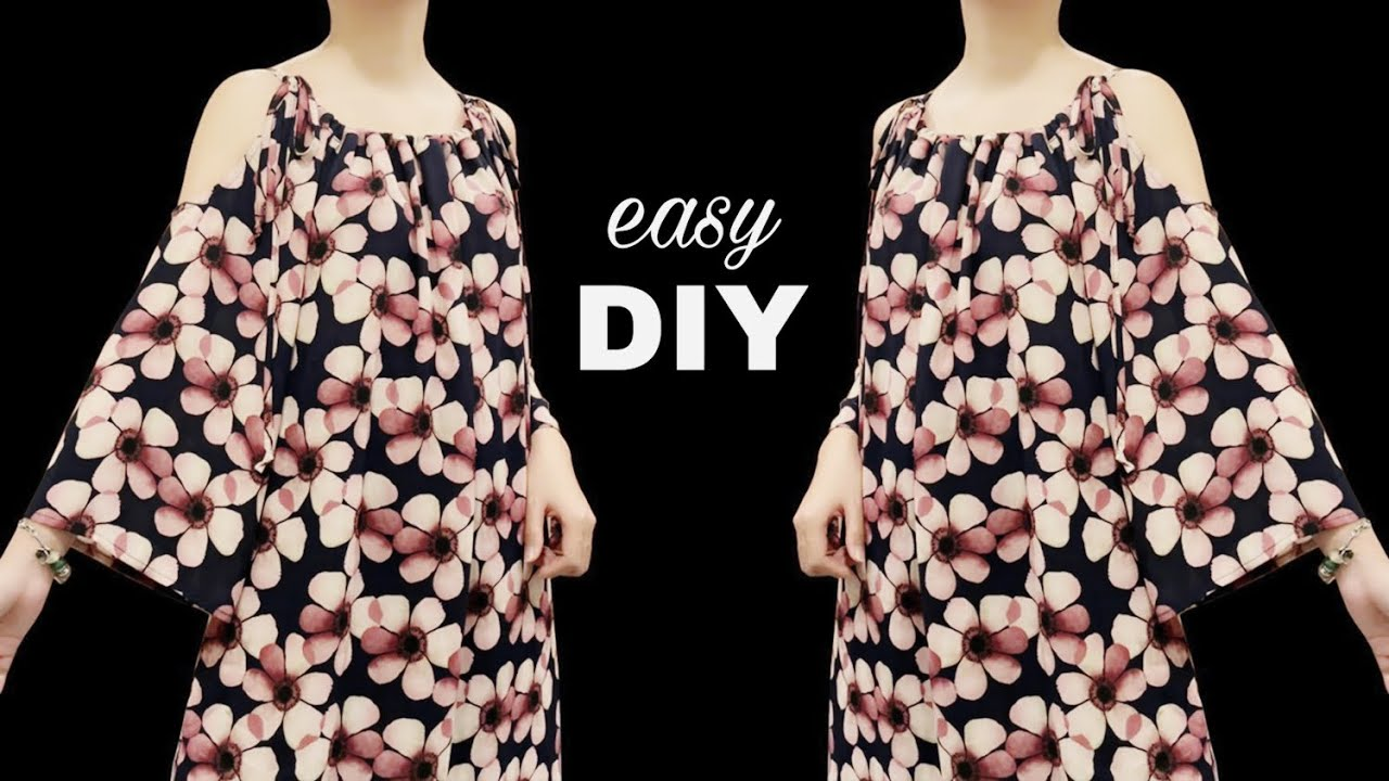 DIY off the shoulder dress   Very easy Dresses cutting and sewing   easy sewing