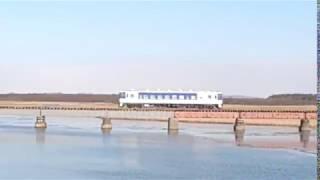 【日高本線】勇払川鉄橋を渡るキハ40形《日高色》