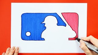 How to draw and color the Major League Baseball - MLB Logo
