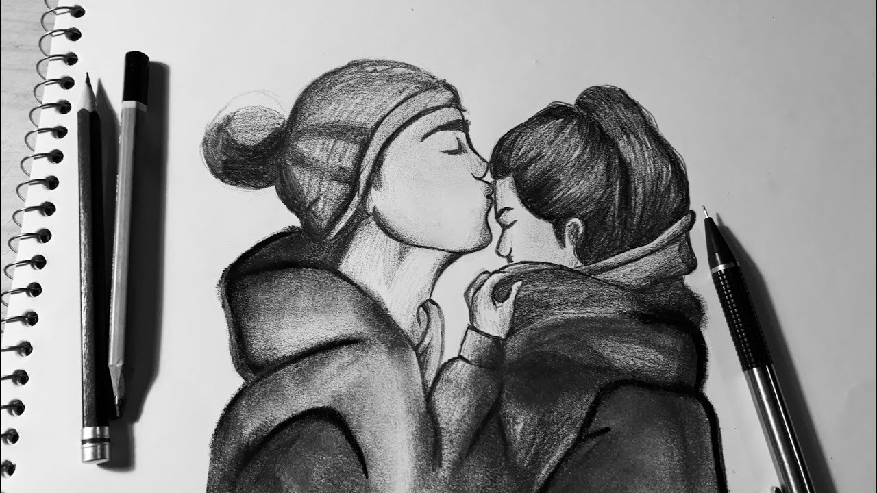 Dibujando Una Pareja A Lápiz Dibujos De Amor Youtube