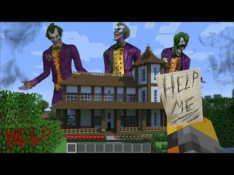 Minecraft GIANT JOKER APPEARS OUTSIDE MY HOUSE IN MINECRAFT !! FIGHT OFF THE VILLAIN !! Minecraft