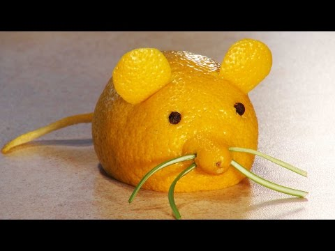 Simple fruit carving Fruit carving for kids A Lemon Mouse FOOD FOR KIDS