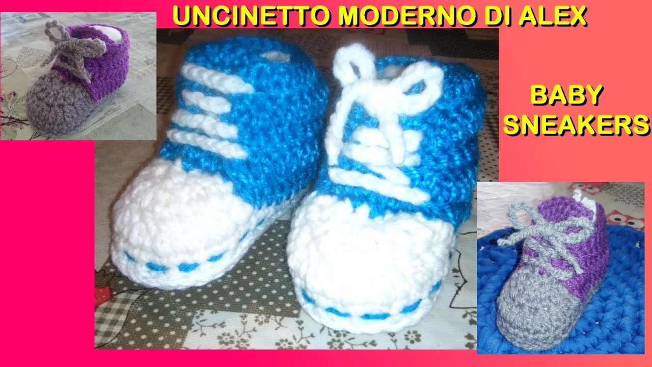 Scarpine Sneakers Facili Uncinetto Super Baby Tutorial Alex Crochet