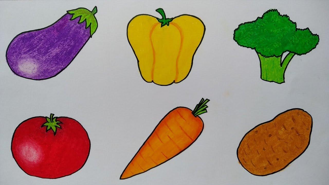 Menggambar sayur sayuran || Belajar menggambar dan mewarnai sayur sayuran