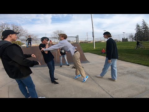 Skaters Try To Fight Scooter Riders