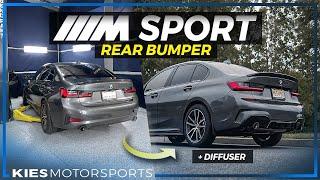 M SPORT Rear Bumper Conversion + Diffuser on a BMW G20 330i
