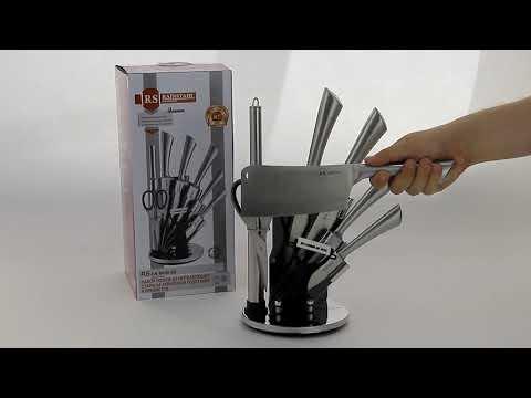 Ножи со стальной ручкой в подставке