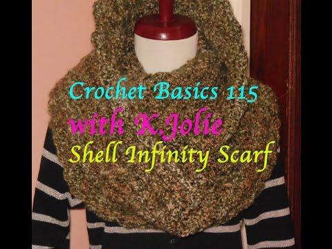 Crochet Basics 115 Klie Home Spun Easy Start Shell Infinity Scarf