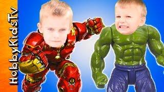 Hulk + Hulk Buster Superhero Action Figure Toy Review Battle! HobbyKidsTV