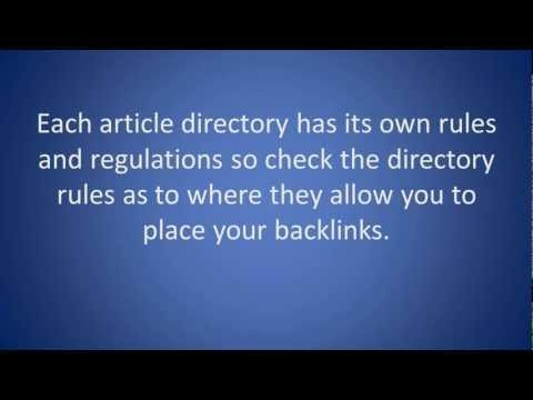 SEO Tip - How to build backlinks from Article directories