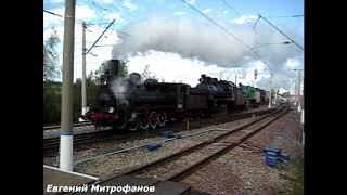 Паровозы на выставке посвящённой 175-летию железным дорогам России.