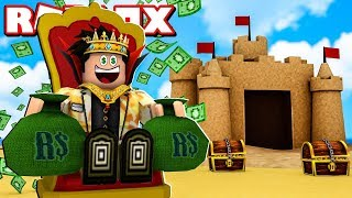 We BUILT a GIANT SAND CASTLE IN the SIMULATOR AT ROBLOX-Sandcastle Simulator