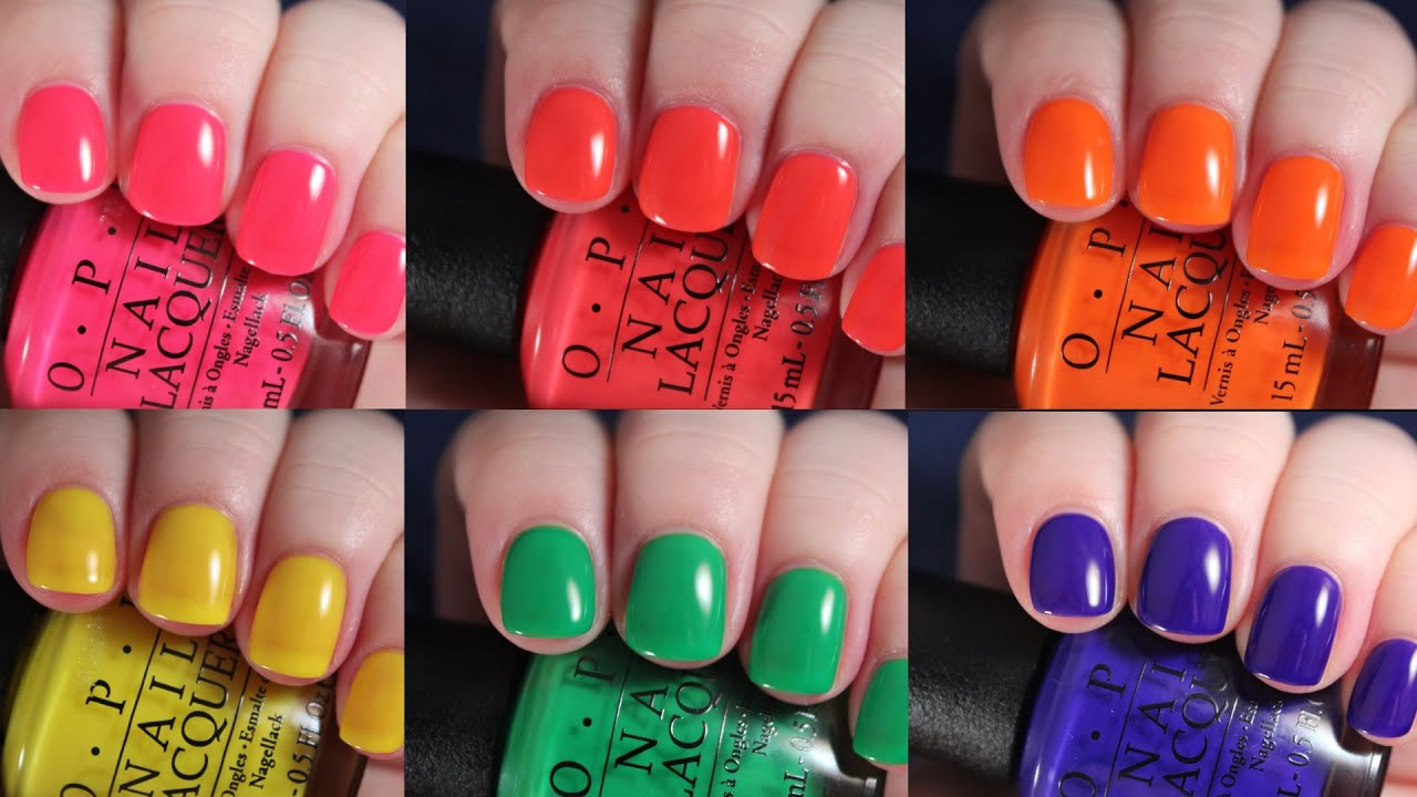 OPI Tru Neons 2016 | Live Application Review - YouTube