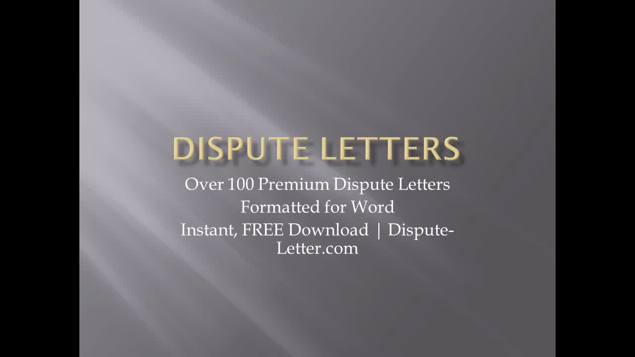 Printable Credit Dispute Letters  Youtube