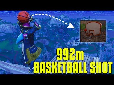 Worlds Longest Basketball Shot In Fortnite Battle Royale! (950m+)