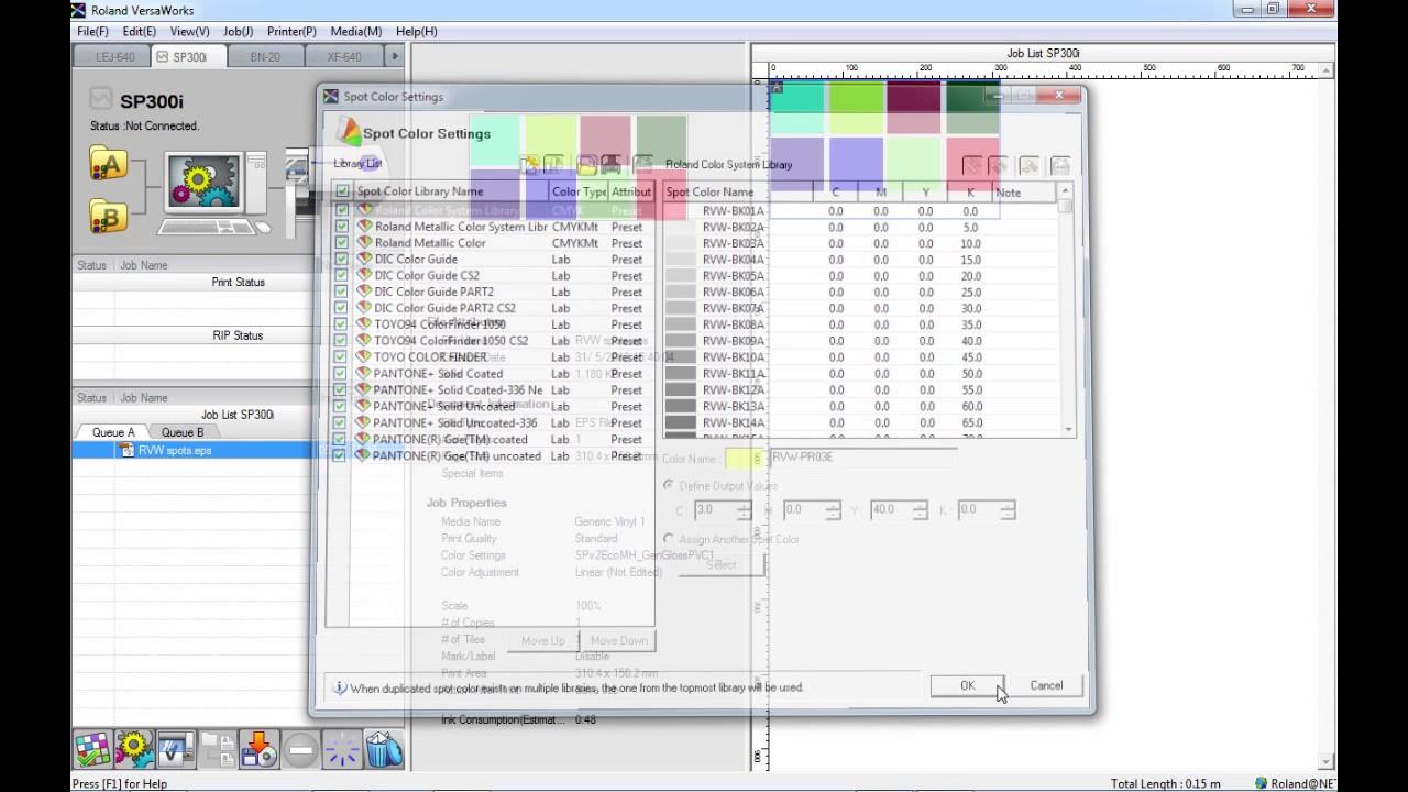 Roland VersaWorks - Spot Colour settings