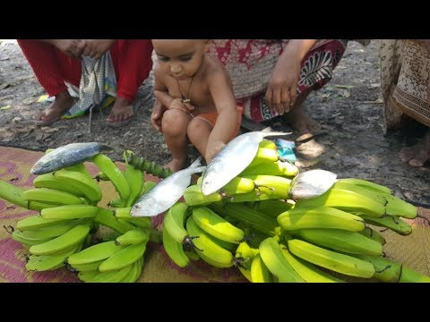 Green  Banana Peel & Hilsa Fish Mashed / Cooking By Women / Most Tasty Rare Village Food Recipe