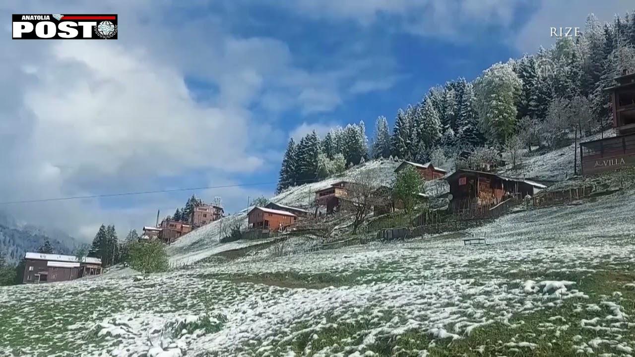 Rize'ye İlkbahar'da yağan karla güzel görüntüler oluştu/ANATOLIA POST
