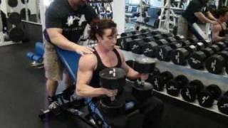 npc female bodybuilder ifpa personal trainer justine dohring dumbbell incline chest presses