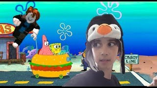 I HAVE TO RUN FROM SPONGE BOB BUGADO! ROBLOX! Parkour!