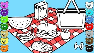 Picnic Food Coloring Page for Children