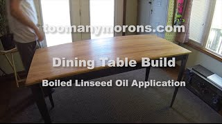 Steel and Canary Wood Dining Table - Linseed Oil Finishing - Part 6