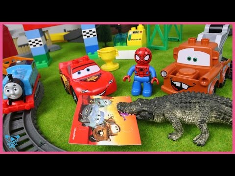 Thumbnail: Thomas and Friends Spiderman & Thomas help Cars McQueen - Car Toy Train for children kids toddlers