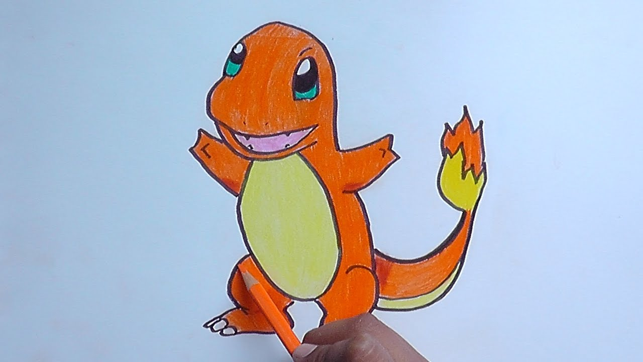 dibujando y pintando a charmander pokemon drawing and