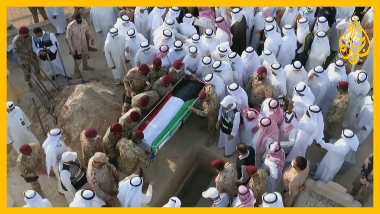 شاهد - جثمان أمير الكويت الراحل الشيخ صباح الأحمد جابر الصباح يوارى الثرى بمقبرة الصليبيخات
