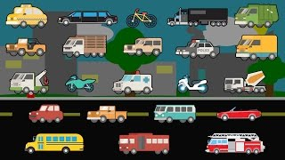 Learning Street Vehicles - Street Cars and Trucks - Children's Educational Flash Card Videos