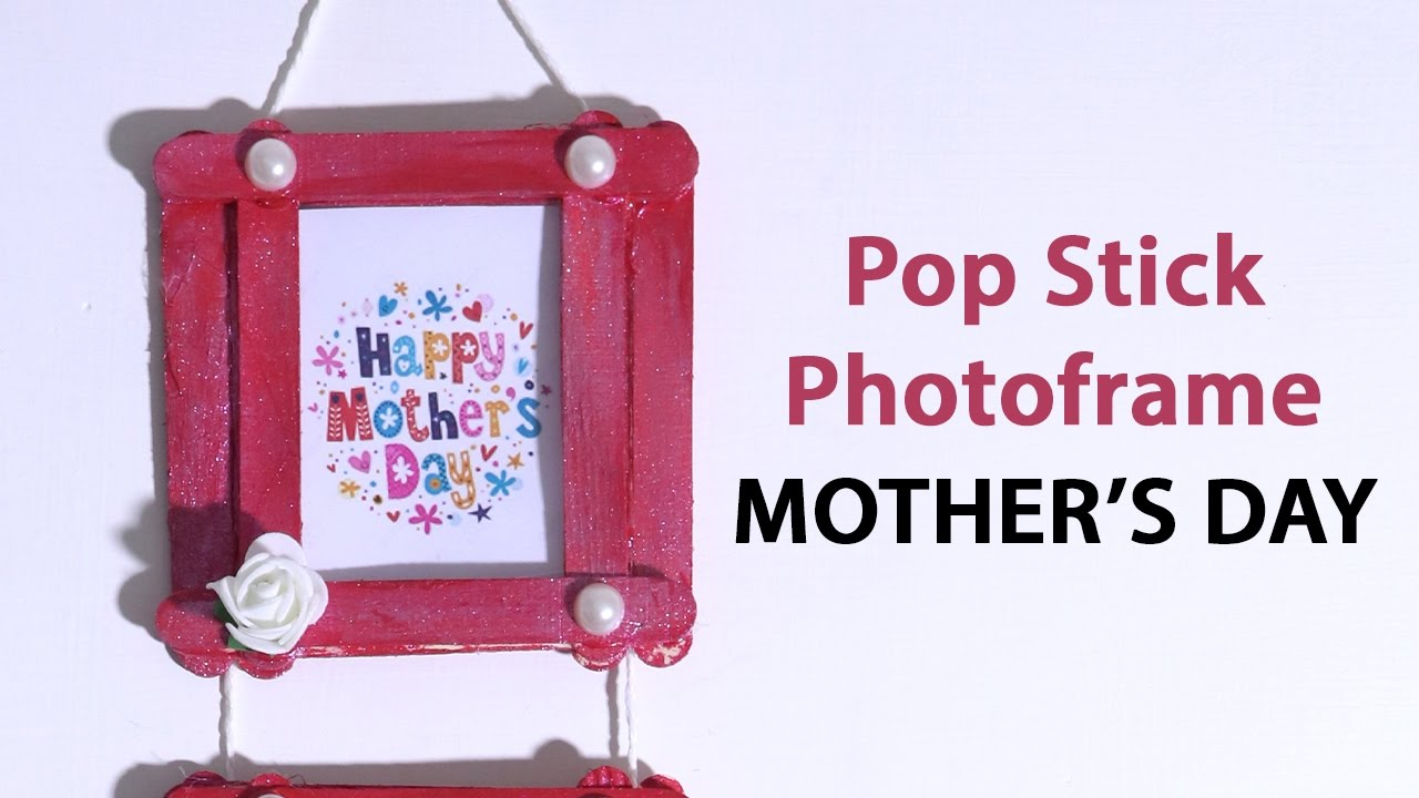 Easy Popsicle Stick Crafts DIY Mothers Day Photo Frame With Pop Sticks Ice Cream