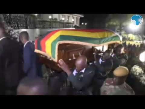 Coffin of ex-president Mugabe arrives at the