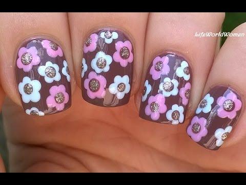 easy flower nail art tutorial for beginners using dotting
