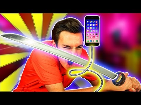 Ninja Sword vs iPhone cable