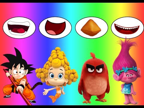 Thumbnail: Learn Colors Wrong Mouth Bad Baby Angry Birds Trolls Poppy Goku Bubble Guppies Family Song Nursery