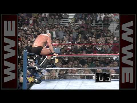 """The rivalry between """"Stone Cold"""" Steve Austin and Bret Hart continues during the Royal Rumble Match:"""