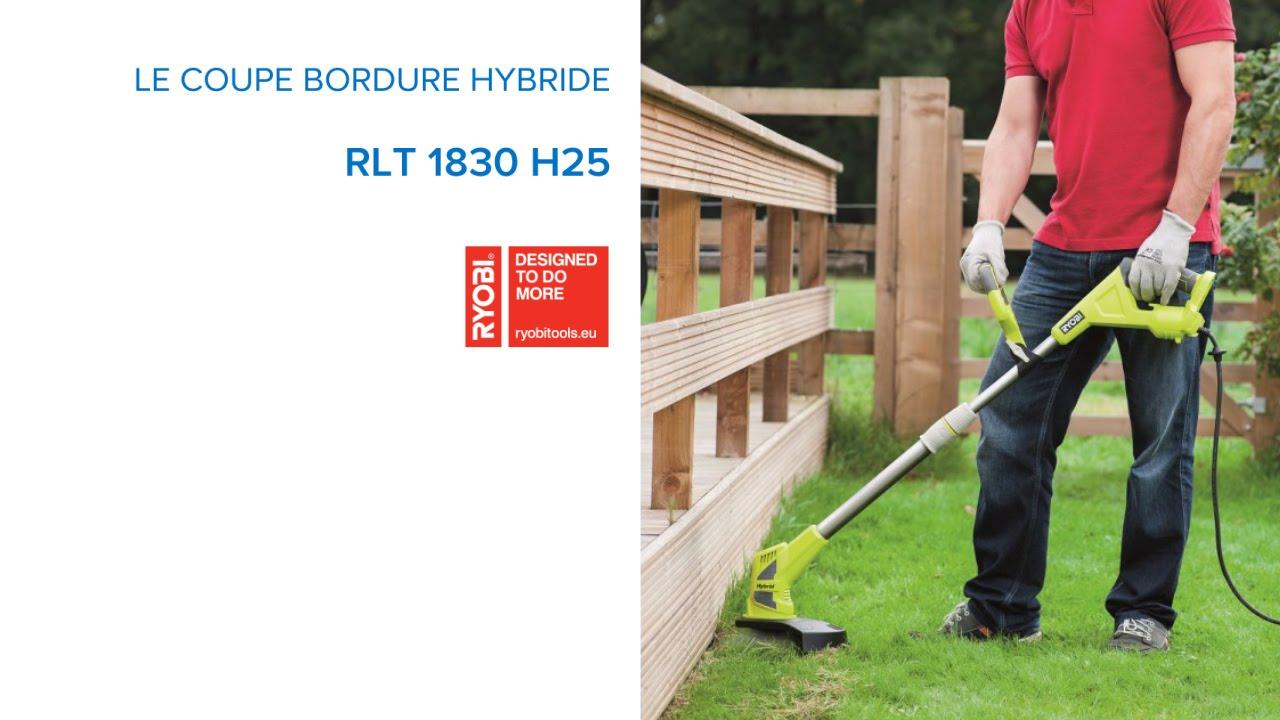 coupe bordures hybride rlt1830h25 ryobi 648756 castorama youtube. Black Bedroom Furniture Sets. Home Design Ideas