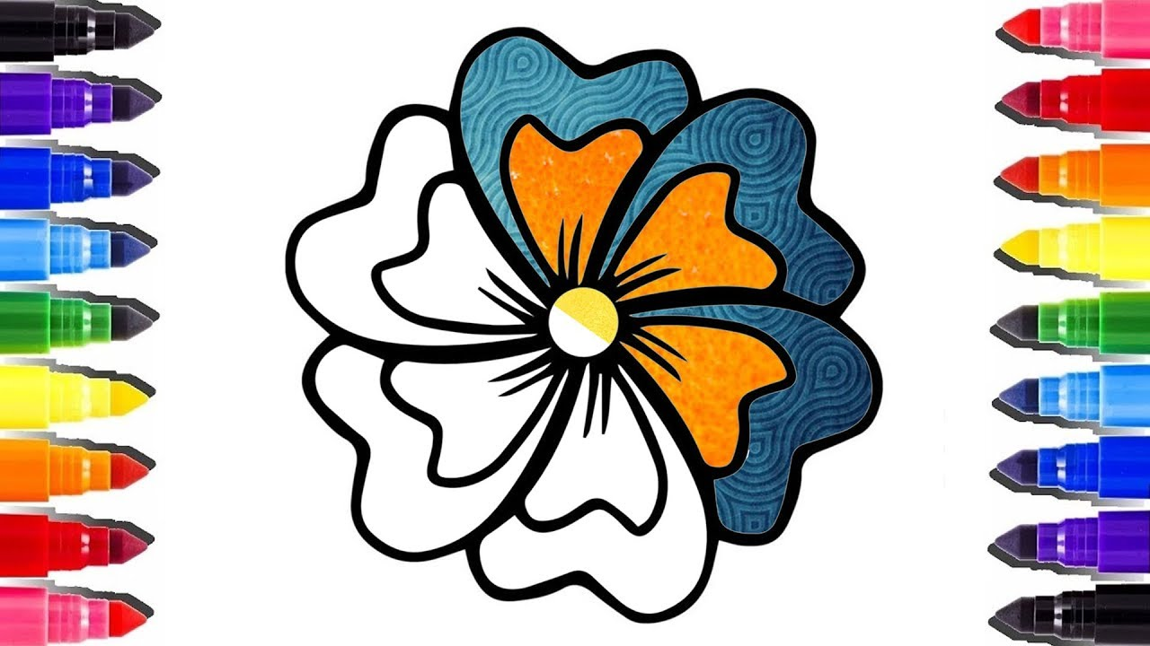 Coloriage Fleur Doranger.Glitter Flower Real Texture Coloring Pages Coloriage Fleur En