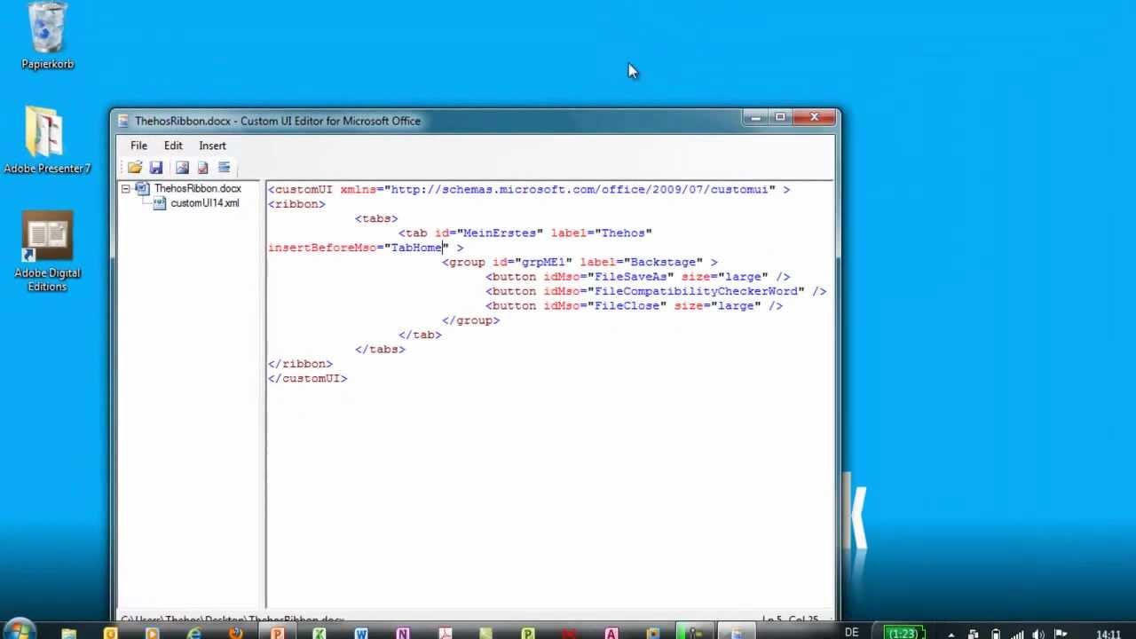 Office 2010 - Menüband anpassen - XML - YouTube