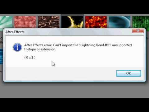 "Adobe After Effects CS4 Error: Can't import file ""(Filename).ffx"": unsupported filetype or extension"